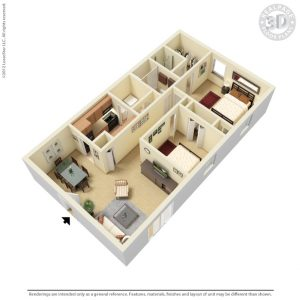 910 sqft apartment floor plan
