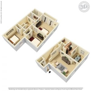 1430 sqft apartment floor plan