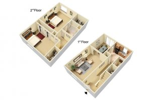1180 sqft apartment floor plan